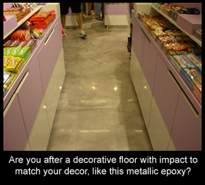 Metallic resin floor in a candy store matches decor well.