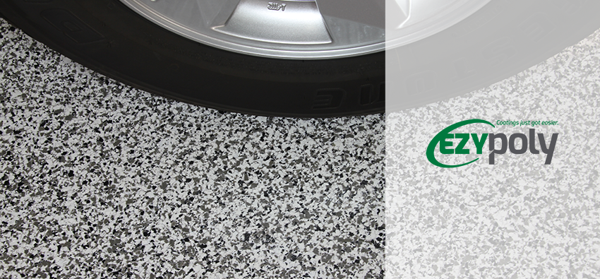 Ezypoly header image with car tyre on flake floor.