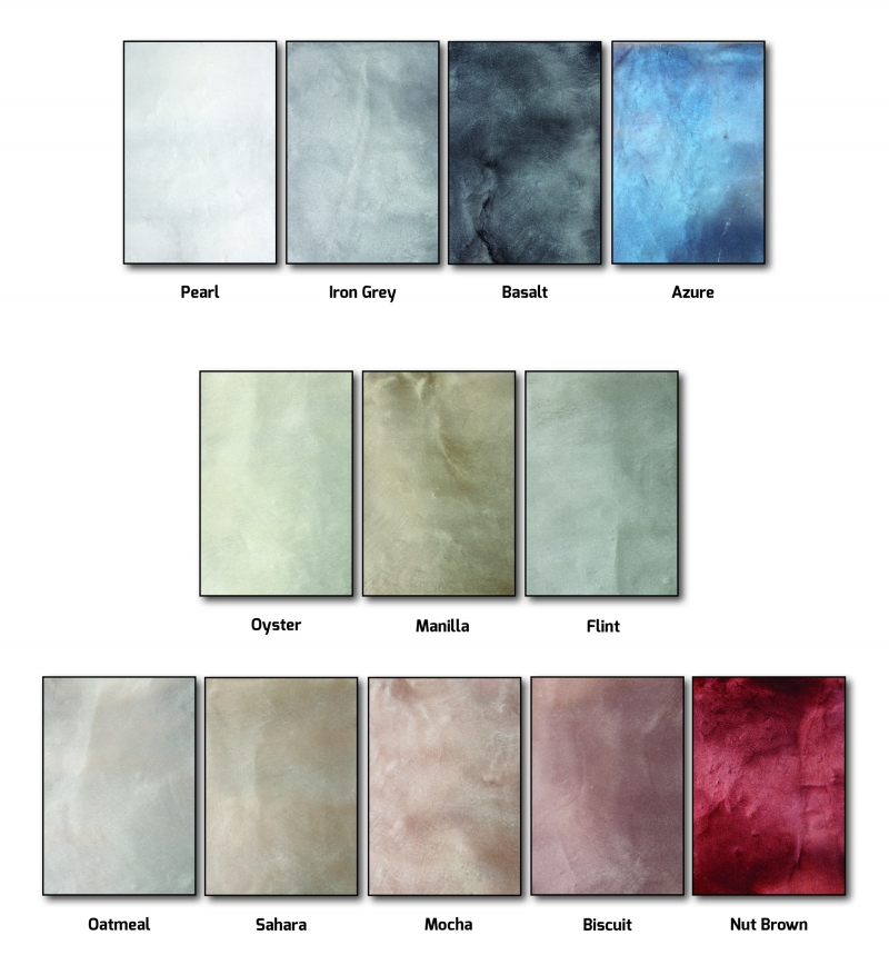 Liquid Marble colour chart.