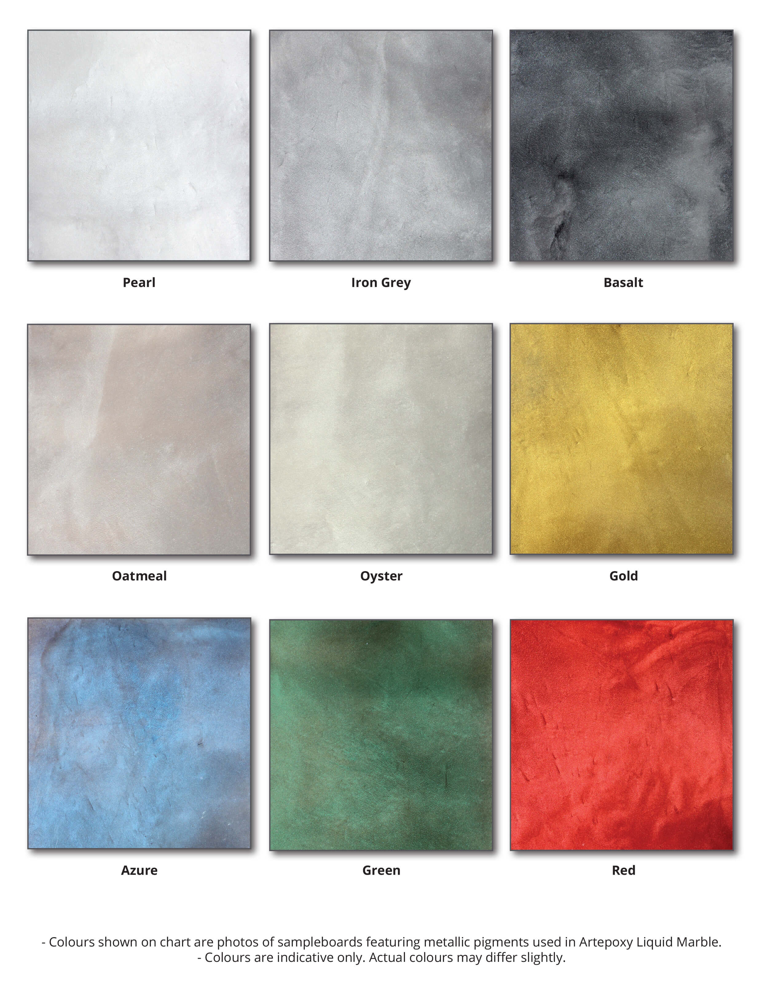 Resin Marble colour chart.